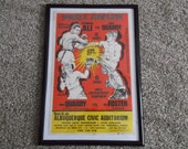 "Original ""Muhammad Ali vs. Jerry Quarry"" Boxing Poster,""Double Jeopardy"" Special Live Telecast,June 27,1972,Framed"