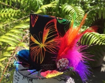Rainbow Butterfly Mad Hatter Mini Top Hat for Dress Up, Birthday, Tea Party or Photo Prop