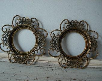 Pair of Ornate Gold Frames/Round Gold Ornate Picture Frame/Gold Gilt Frame/Open Frame