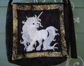 Unicorn Purse / Quilted Purse / Fantasy Art / Hand Made / Shoulder Bag