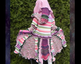 Kids patchwork elf coat, pixie sweater, boho hippie jacket, handmade beautiful from upcycled knit. Lime butterfly in pink, purple and lime.
