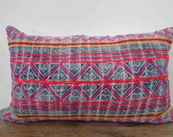 "Hemp  Batik,20""x12""Vintage Textile Decorative Cushion cover, Tradition Ethnic fabric Floor Cushions, lumbar cushion"