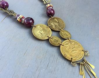 Vintage Coin Necklace Peruvian Folk Art Jewelry 1950s Un Sol De Oro