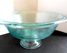 Depression Glass Etched Bowl on Pedestal by Federal Glass c. 1930s  Madrid Pattern Something Blue Weddings Dining and Serving Entertaining