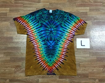 Tie Dye T-Shirt ~ Rainbow /Palomino Gold V with aqua Spider i3008 Adult Large