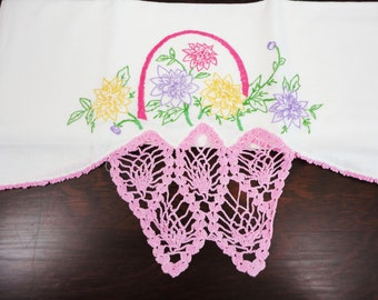 Handmade Pillow Case With Pink Crocheting Flour Sack Originally
