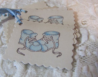 Blue Baby Booties Gift Tags set of 8 Baby Shower Baby Gift