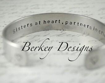 Sister Gift / Sisters At Heart Partners In Crime Secret Message Hand Stamped Bracelet- Personalized Bracelet