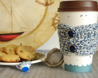 Nautical Coffee Cozy Crocheted, Star Button Cozy Crocheted, Blue Coffee Cozies, Crochet Cozies, Coffee Cozies, Smoothie Cup Cozy