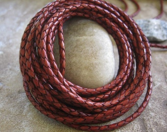 5 Yd 3MM Deep Red Cherry Leather Bolo Cord Braided Round Lace