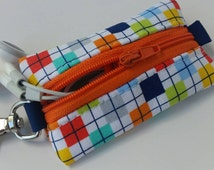 Chapstick, Headphones, or USB Drive Keychain Holder- Colorful Squares