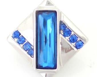 1 PC 18MM Blue Rhinestone Silver Snap Candy Charm ds5100 CC1394