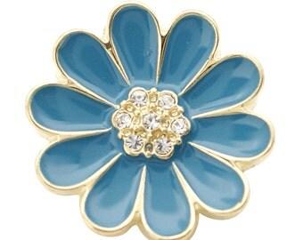 1 PC 18MM Blue Enamel Flower Gold Candy Snap Charm ds5168 CC1683