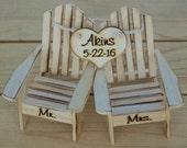 Cake Topper Adirondack Chairs-Beach Wedding-Cottage Wedding-Shabby Chic- Rustic Chic Burned/Engraved Mr. & Mrs. Adirondack cake toppers