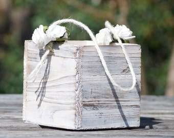Personalized Shabby Chic - Rustic Flower Girl Basket Wood/Grapevine