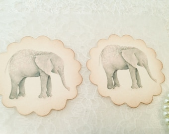 Elephant Sticker-Animal Sticker-Zoo Animal Favor-Safari Sticker-Baby Shower Favors-Animal Favors-Set of 12