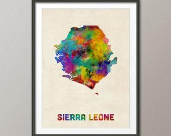 Sierra Leone Watercolor Map, Art Print (2348)