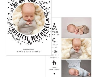 INSTANT DOWNLOAD - Photoshop Birth announcement template -  e1288