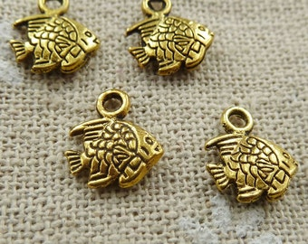 Fish Charm 18 Charms Double Sided Antique Gold Tone 11 x 9 mm  - cg133