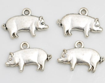 1 Pig Charms, Farm Charms, Antique Silver Tone Double Sided 18 x 12 mm - sc324