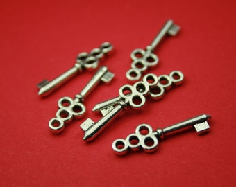 1 Key Charm Antique Silver 22 x 7 mm U.S Seller - sc246