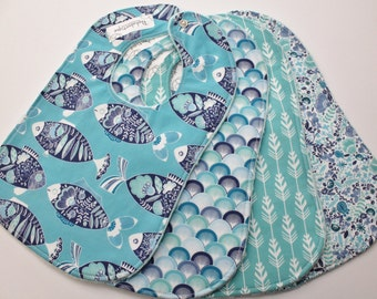 Baby Bibs, Gender Neutral Baby Bibs, Aqua-Navy-white Baby Bibs, Set of 4 baby/toddler bibs, 3 layers