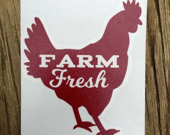 Farm Fresh Rooster Decal [Solid Color]