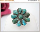 Native American Ring  - Sterling Zuni - Old Pawn - Turquoise Flower - Size 6.5