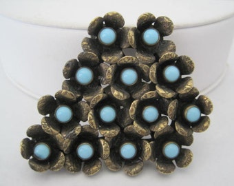 Turquoise Brooch - Art Deco Dress Clip -  Silver Tone Pin