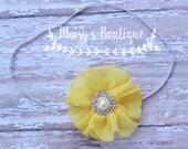 75% Off Yellow Sunshine Pearl Rhinestone Headband/ Newborn Headband/ Baby Headband/ Flower Girl/ Wedding/ Photo Prop