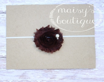 45% Off Brown Shabby Flower Headband/ Newborn Headband/ Baby Headband/ Flower Girl/ Wedding/ Photo Prop