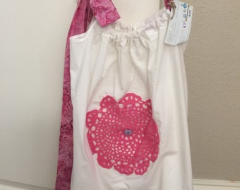 Girls Pillowcase Dress 2-4T in White with Hot Pink Accent