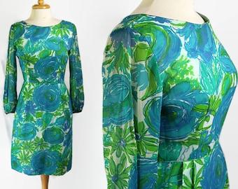 60s Watercolor Chiffon Wiggle Dress Blue Green Mod Floral Print