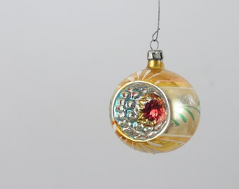 Vintage Christmas Ornament Glass Round Christmas Ornament Made In Poland Box 2