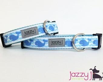 Whale Waves Blue Summer Dog Collar