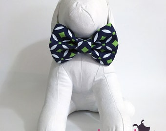 Navy Blue and Lime Green Geometric Bow Tie