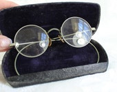 Antique Spectacles- Wire Rimmed eye glassses with box- round eyeglasses- Silvertone- Vintage glasses