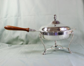 Silver Chafing Dish- Silverplate Fondue Pot- Four Piece Vintage- Gorham Electroplate YC482 P- Wood Handle, Double Boiler, Sterno Stand