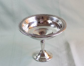 Silver Plate Compote- Antique Footed Bowl- Vintage B Roger- Pedestal Bowl, Soap Dish, Coffee Table, Potpourri- Candy Dish, Vase
