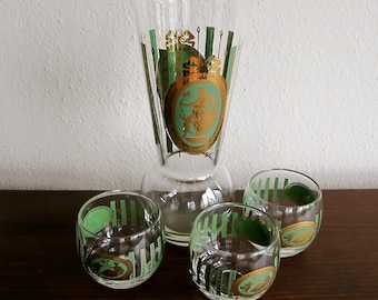 Vintage Martini Pitcher and Roly Poly Glasses - Grecian Motif CERA Barware