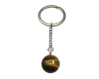 Round Tigers Eye Keychain
