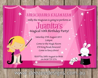 Magician Themed Personalised Birthday Invitations - YOU PRINT