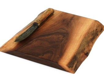 "Natural Edge Wine and Cheese Board Handmade from Walnut - Ready to Ship - 11""x10-1/2""x1"""