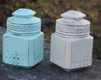 Decorative glass white and seafoam green  canisters