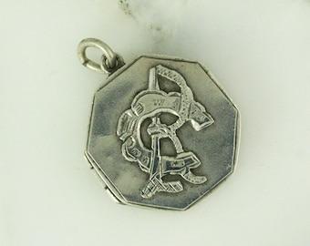 1876 Victorian Silver RC CR Locket - Equestrian Horseshoe Locket - Initial Monogram Signet - Horse Shoe Good Luck Charm