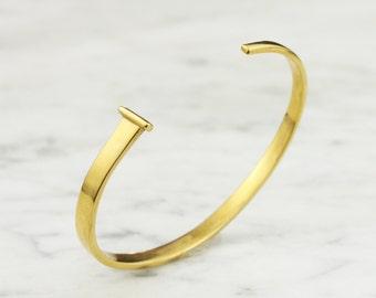 Square Nail Bracelet 14k Gold - Personalized - Hand Forged - Womens