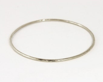2mm 14k White Gold Hammered Bangle Bracelet - Simple White Gold Bracelet - Handmade Bangle Bracelet - Solid 14k Gold