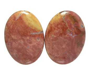 Papaya Jasper Gemstone Matched Pair Flat Back Oval Cabochons for Earrings Loose Unset Tropical Jewels Big Bold Orange and Yellow Gems