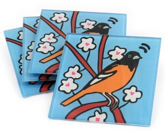 Oriole Tempered Glass Coasters