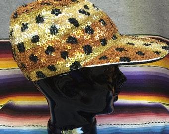 Vintage Sequin Cheetah Hat - Animal Print Sequin Cap - 80s 90s Sequin Ballcap - Flat Bill Long Bill Hat - Black Gold - Urban Hipster Style